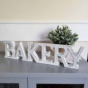 Whitewash Wood Bakery Sign